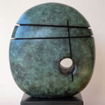 Green Divided Form 5 abstact bronze sculpture